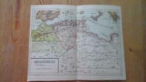 ANTIQUE TRIPOLI LIBYA ALGERIA SICILY Arabic Ottoman Map 1890s 23 x 19 cms