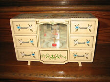 Vintage Wooden Music Box with Dancing Ballerina Jewelry Trinket Box RARE UNIQUE