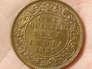 1935 India One Quarter Anna Coin 1/4  GEORGE V High Grade #P37