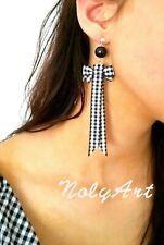 Handmade piercing stud earrings Korean style ribbon bow tie dangle gifts