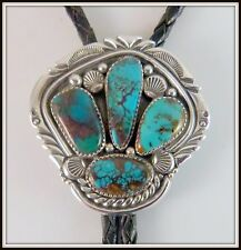 VTG Sterling Silver & 4 Turquoise BOLO SIGNED Jeanette Dale Navajo bola tie