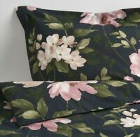 Ikea Blekfryle Full/Queen Duvet Cover w/2 Pillowcases Bed Floral Black Pink New