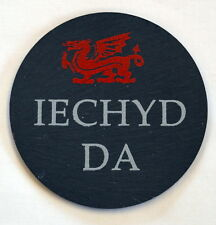 "Single Welsh Slate Coaster ""IECHYD DA"" , with red WELSH DRAGON, Wales/Cymru"