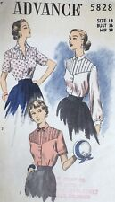 Vtg 1950s Advance 5828 Tucked Yoke Front Button Blouse Sewing Pattern 18