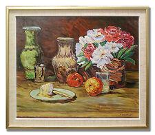 F ZIELFELDT / STILL LIFE WITH FOOD AND FLOWERS -1950´s Original Art Oil Painting