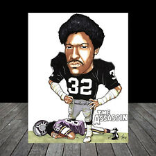 New JACK TATUM Oakland Raiders FOOTBALL ART, artist auto. signed, the assassin