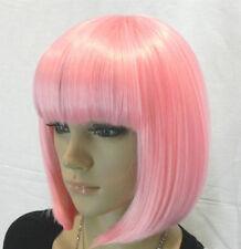Hot Sell Fashion Short Pink Straight Bangs Bob Women Lady Hair Wig Wigs +Wig Cap
