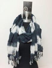 Women Long Printed tie-dye with marled tassels Chiffon Scarf Wrap Shawl Navy