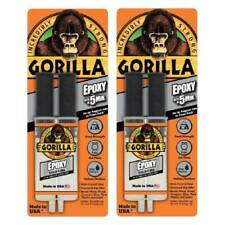 Gorilla Epoxy Glue Syringe Super Strong Bond Sets in 5 Min. .85 Oz Clear, 2-Pack