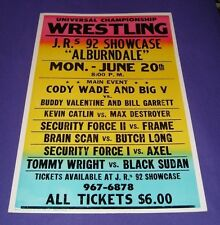 Pro Wrestling Arena Poster Window Card (Florida, 1990s) 17 x 26 Heavy Cardboard