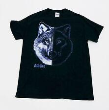 Alaska Wolf Black Tee Shirt 100% Cotton Gildan Ultra Cotton Medium