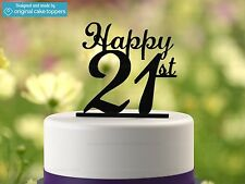 """""""Happy 21st"""" - Black - 21st Birthday Cake Topper - Made by OriginalCakeToppers"""