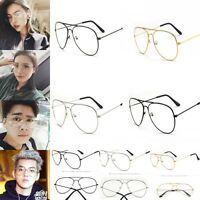 Retro Women Men Round Clear Lens Glasses Spectacles Eyeglass Metal Frame