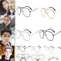 Retro Women Men Round Clear Lens Glasses Nerd Spectacles Eyeglass Metal Frame