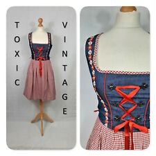 VINTAGE FINE DENIM RED WHITE GINGHAM DIRNDL DRESS UK S - HEIDI OKTOBERFEST CUTE