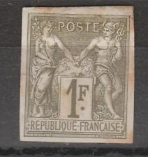 N° 72 SAGE 1F bronze non dentelé, cote Y&T 600 €, neuf charn. , an 1876, tachés