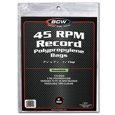 7 inch Single Vinyl Record (45RPM) Resealable Protective Soft Bag x 100 Bag Pack
