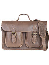 Scully 604 Distressed Leather Flap Over Laptop Briefcase