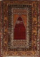 Antique Anatolian Turkish Oriental Area Rug Geometric Handmade Wool Carpet 4x5