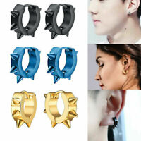 1Pair Men Women Stainless Steel Hoop Earrings Punk Spike Rivet Ear Stud Jewelry
