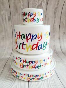 "Grosgrain Printed Ribbon 25mm 38mm 75mm Width 1"" Happy Birthday Cake Balloons"