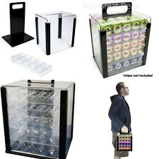 Poker Chip Carrier Case Acrylic Racks Tray 1000 Game Accessory Equipment - NEW