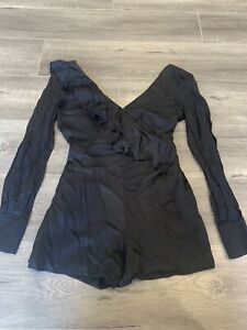 Bardot Playsuit Frill Black Size 12 PlsSee My Other Items Boohoo Showpo Kookai