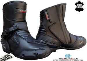 MENS REAL LEATHER SHORT CE MOTORBIKE MOTORCYCLE RACING SPORTS SHOES BUCKLE BOOTS