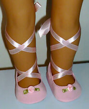 "Fits 18"" Doll Clothes PINK BALLET DANCE SLIPPERS SHOES"