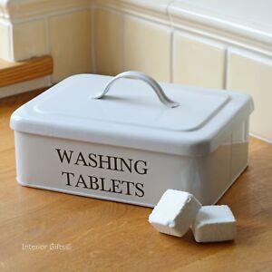 WASHING TABLET STORAGE CONTAINER BOX Tabs Powder Off White Enamel Kitchen Home