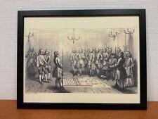 Framed engraving 30x40 cm Vrijmetselarij Entered Apprentice Tracing Board