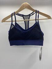 NWT DKNY Women's Yoga Running Sports Bra Mesh-Overlay Medium Impact Blue Sz Xs