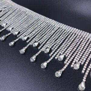 Luxry Rhinestone Tassel Trim Sewing Water Drop Chain Fringe Clothing Accessories