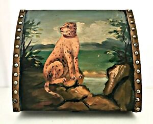 """Trunk Wooden Trinket Box Leopard by the Sea Fabric Lined Vintage Chest 12""""x10"""""""