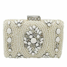 White Women Beaded Evening Bags Wedding Purses and Handbags Bridal Clutch Bag