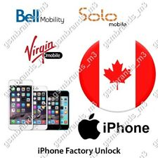BELL SOLO VIRGIN CANADA iPhone 5 5s 5c 6 6s 6+ 6s+ 7 7+ UNLOCK CODE