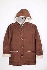 ~Lauren Ralph Lauren~Hooded~Women's Petite~Faux Swede & Shearling Wool~Coat~EUC~