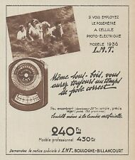 Z9936 Posemètre a cellule photo-électrique LMT -  Pubblicità d'epoca - 1937 Ad