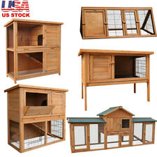 "79"" Large Wooden Rabbit Hutch Chicken Coop House Bunny Hen Pet Backyard Run Cage"