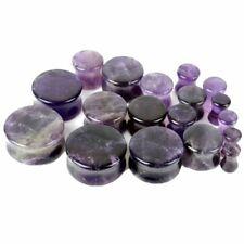 0 5/32in-0 5/8in Stone Ear Plug Amethyst Organic Nature Tunnel Piercing Purple
