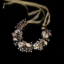Gold Leaves Wedding Bridal Hair Vine Headband Crystal Tiaras Crowns Head Piece