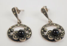 Earrings Sterling Silver Marcasite Onyx Bead Flower Drop Dangle