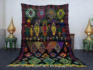 Moroccan Handmade Vintage Rug 5'x7'  Berber Geometric Black Yellow Wool Carpet
