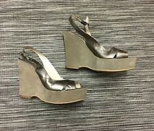 Russel&Bromley Womens High Platform Slingback Gold Leather Sandal Shoes Size 4