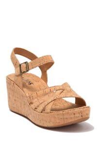 NEW Korks Jenneve Natural Strappy Platform Wedge Sandal Womens Size 7 NIB