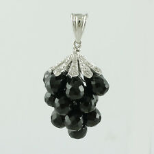 Black Spinel 21.12 Ct. Exotic Necklace Pendent White Topaz Silver With Chain