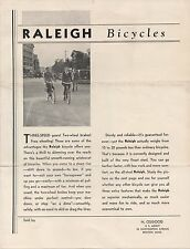 1930s Raleigh Bicycle Brochure and Price List