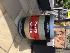 WATNEYS Party Severn Full size beer barrell a piece of 70's nostalgia with base