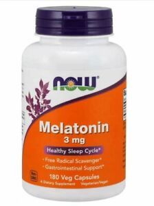 NOW FOODS 3 mg MELATONI 180 Veg Capsules