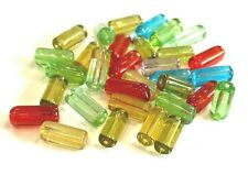 100pcs Glass Tube Bead - approx 8mm - Choice of Colours (BX10) UK Seller